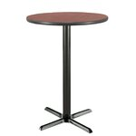 "30"" Round Pedestal Table Color: Mahogany, Size: 42""H x 30""W"