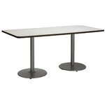 "72"" x 30""  Round Base Pedestal Table Size: 29"" H x 30"" W x 72"" L, Top Finish: Crisp Linen"