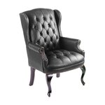 Guest Office Chair with Brass Head Trim Upholstery: Black Coressoft