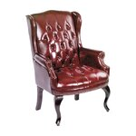 Guest Office Chair with Brass Head Trim Upholstery: Oxblood Vinyl