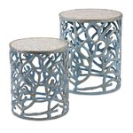 2 Piece Coral Mother of Pearl End Table Set