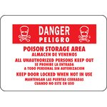 "10"" x 14"" Aluminum Bilingual Danger Poison Sign (Set of 12)"