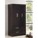 3 Door Armoire Finish: Black