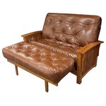All Cotton Leather Chair Futon Mattress Color: Saddle Brown