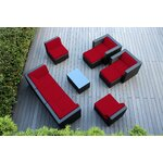 10 Piece Deep Seating Group with Cushions Fabric: Red