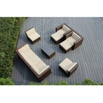 10 Piece Deep Seating Group with Cushions Fabric: Beige