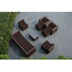 10 Piece Deep Seating Group with Cushions Fabric: Brown