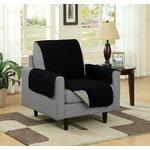 Chair Slipcover Upholstery: Black/Gray