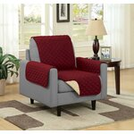 Chair Slipcover Upholstery: Burgundy/Camel