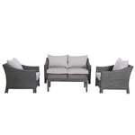 Aqueduct 4 Piece Deep Seating Group with Cushion Finish: Grey