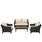 Aqueduct 4 Piece Deep Seating Group with Cushion Finish: Multi-Brown