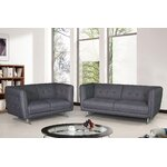 2 Pieces Sofa and Loveseat Set Color: Gray