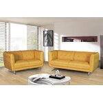 2 Pieces Sofa and Loveseat Set Color: Dark Yellow