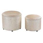 2 Piece Metallic Linen Ottoman Set