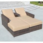 4 Piece Double Chaise Lounge with Cushions