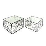 2 Piece Metal & Glass End Table Set