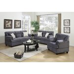 3 Piece Living Room Set Upholstery: Gray