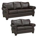 2-Piece Huntington Italian Leather Sofa and Loveseat Set