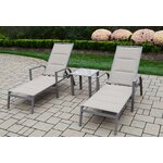 3 Piece Padded Sling Chaise Lounge Set