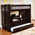 All in One Twin Bunk Bed with Trundle and Storage
