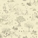 Winnie The Pooh Wallpaper in Cream / Green