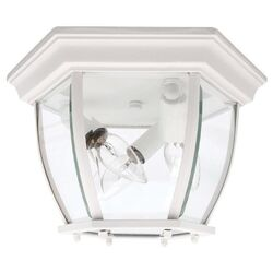 Three Light Outdoor Flush Mount in White
