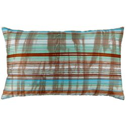 Faux Silk Stripes Decorative Pillow in Turquoise and Brown