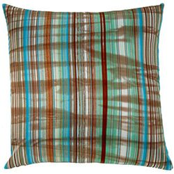 Faux Silk Stripes Square Decorative Pillow in Turquoise and Brown