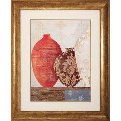 Jars Framed Wall Art in Red and Brown