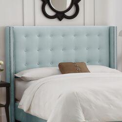 Velvet Nail Button Upholstered Headboard by Skyline Furniture