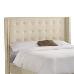 Nail Button Tufted Cotton Wingback Headboard