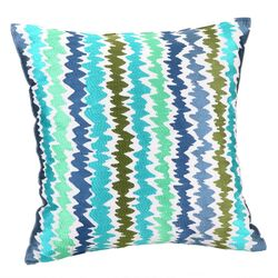Tropical Floral Ikat Stripe Pillow