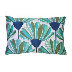 Tropical Flowers Embroidered Pillow