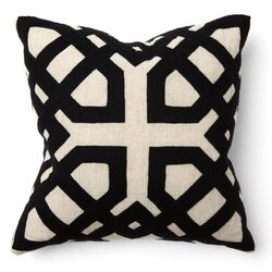 African Mod Khwai Applique Pillow in Black