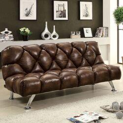 Jenello Vinyl Convertible Convertible Sofa