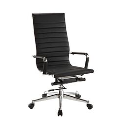 Pantera Metal and Synthetic High-Back Leather Office Chair