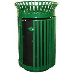 Queen City 36-Gal Gated Trash Receptacle and Flat Top Lid