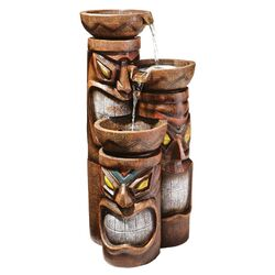 Cascading Aloha Tiki Three-Bowl Resin Tiered Fountain