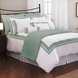 Wildon Home -Inlay Tailored Euro Sham in White / Teal