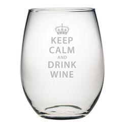 Keep Calm & Drink Wine Stemless 21 Oz. Wine Glass