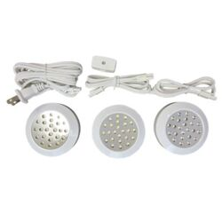 Light Under Cabinet LED Light Pucks, Brushed Pewter (Set of 3)