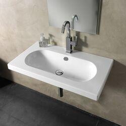 EDO Wide Ceramic Bathroom Sink with Overflow