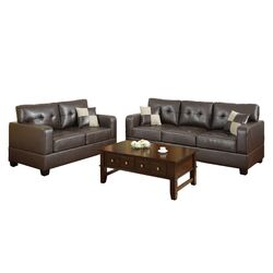 Bobkona Toni 2 Piece Leather Match Sofa and Loveseat Set