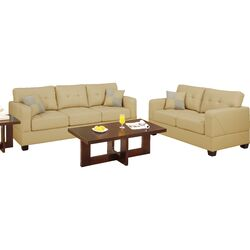 Bobkona Toni 2 Piece Leather Match Sofa and Loveseat Set