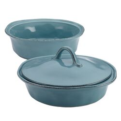 Cucina 3-Piece Stoneware Round Casserole and Lid Set