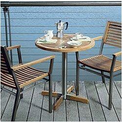 Equinox Circular Steel and Teak Bistro Table
