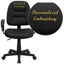 Personalized Mid-Back Leather Ergonomic Task Chair with Arms