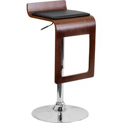 Walnut Bentwood Adjustable Height Bar Stool with Vinyl Seat and Drop Frame