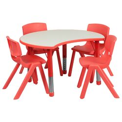 Height Adjustable Cutout Circle Activity Table with 4 School Stack Chairs