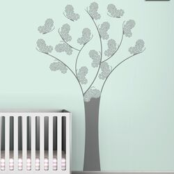 Black Label Butterfly Tree Wall Decal